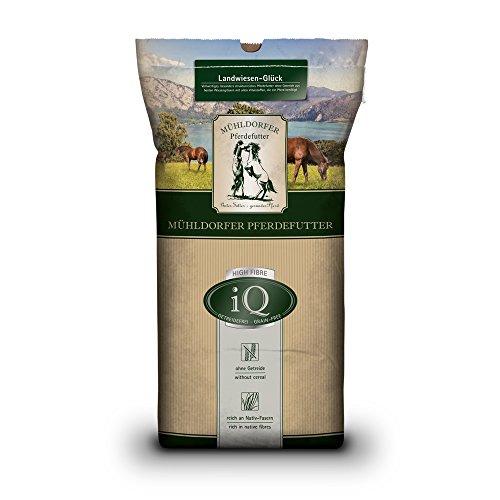 Mühldorfer Futter für Sport- und Freizeitpferde, Getreidefrei, iQ High-Fibre Landwiesen-Glück, 12,5 kg