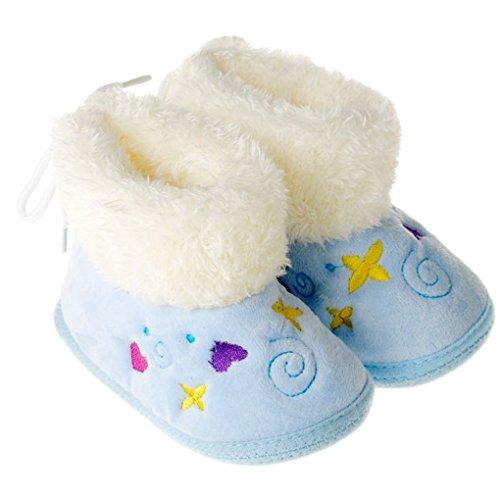 Happy Cherry – Bottes/Bottines/Chaussures de Neige Chaude en velours pour Bébé Fille Garçon de 9-12 Mois en Hiver – Rose Bleu
