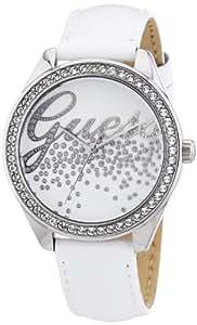Guess - W60006L1 - Montre Femme - Quartz Analogique - Cadran Blanc - Bracelet Cuir Blanc