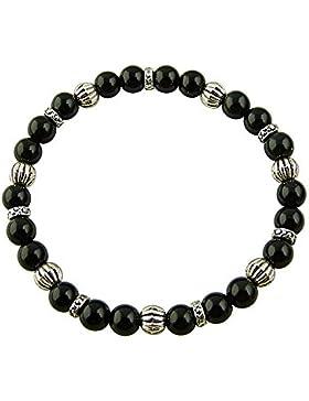 Sunsara Traumsteinshop Edelstein Sternzeichen Armband - Steinbock - Obsidian, mit silberfarbenen Tibet Perlen,...