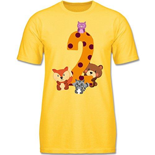 g Kind - 2. Geburtstag Waldtiere - 92 (1-2 Jahre) - Gelb - F140K - Jungen T-Shirt (Oster-shirts Für Jungen)