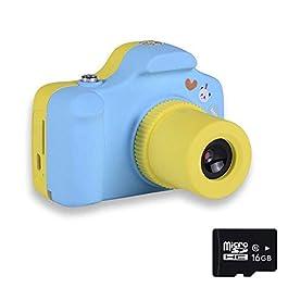 1080P Fotocamere Digitali per Bambini con Scheda SD 16 GB, Mini Macchina Fotografica Bambini Portatile Telecamera per…