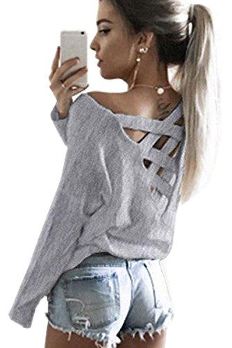 Minetom Damen Frühling Sexy Lange Ärmel Shirts Zurück V-Ausschnitt Kreuz Hohl Langarmshirts Pullover Tops Grau DE 40 (V-ausschnitt Tunika Zurück)