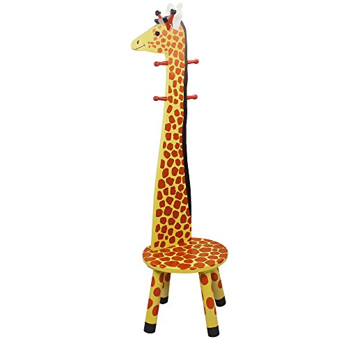 Teamson Kids - Wooden Safari High Back Stool with Coat Rack - Giraffe