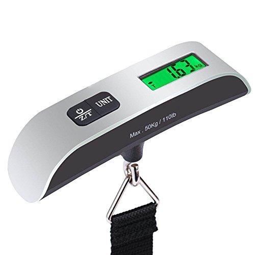 Xinxun Digitale Kofferwaage Gepäckwaage Reise Hängewaage - Tragbare Handwaage elektronische Waage mit Temperaturanzeige für Reisen/Familienleben 50 kg Kapazität