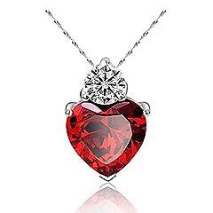 Idea Regalo - Fajewellery Swarovski Elements Cristallo Rosso Cuore Collana per le Donne