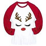 Auiyut Damen T-Shirts Langarm Weihnachtspullover Basic Sweatshirt Rundhals Bluse 3D Druck Locker Oberteil Patchwork Weihnachten Top Rudolf Muster Drucken Winter Langarmshirt