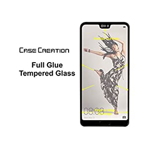 Case Creation Tempered Glass Screen Protector for Huawei P20 [Full Screen Coverage]-Black Frame