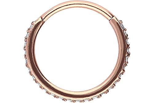 PIERCINGLINE Chirurgenstahl Segmentring Clicker | Kristalle | Piercing für ✔ Septum ✔ Tragus ✔ Helix u.v.m | Farben & Größenauswahl