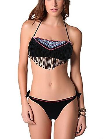 EONAR Damen Push-Up Bikini-sets Bademode mit Quast Fransen Seitlich Gebunden