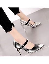 20ff12ceb HRCxue Zapatos de la Corte Moda a Cuadros Puntiagudo Stiletto talón Mujeres  Hebilla de cinturón Palabra
