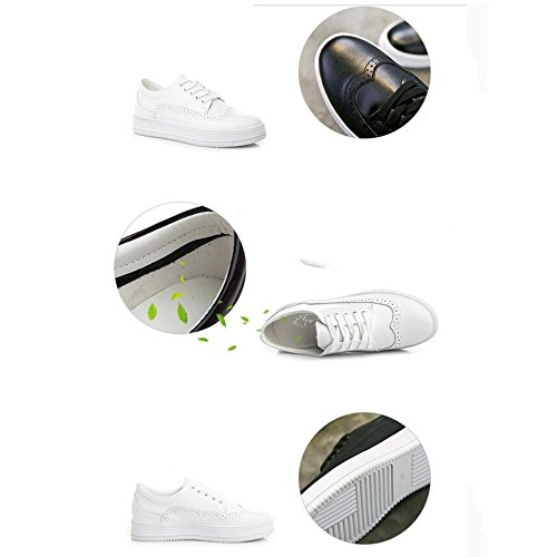 HAIZHEN   Stivaletto Sneakers delle donne Primavera Estate Autunno Inverno Comfort PU Outdoor Athletic Casual Low Heel Bianco per 18-40 anni Per 18-40 anni ( Colore : Nero , dimensioni : EU37/UK4-4.5/ Nero