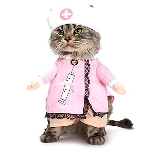 JMT-0825 Lustige Haustieruniform Katzen Hunde Kleidung Krankenschwester Cosplay Führen Kostüm Kleid Rosa - Rosa Krankenschwester Kostüm