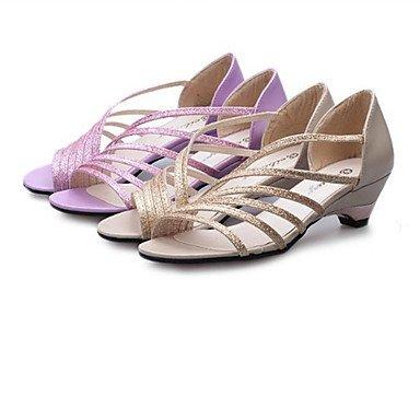 LvYuan Damen-Sandalen-Outddor Kleid Lässig-PU-Blockabsatz-Club-Schuhe-Lila Silber Gold Purple