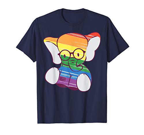 SÜSSES BABY ELEFANT GEEKY BRILLE REGENBOGENFAHNE LGBT STOLZ T-Shirt