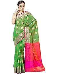Banarasi Silk Works Cotton Saree With Blouse Piece(PTE56_Green_Free Size)