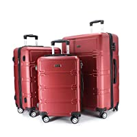 luggage travel trolley with 4 wheels 3 pieces set,red 8661