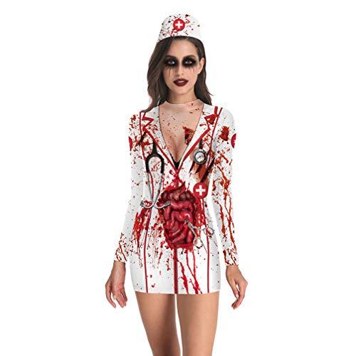 Kostüm Krankenschwester Verrückte - Fenical Halloween blutige Krankenschwester Kostüm Outfit Krankenschwester Cosplay verkleiden Sich für Frauen Größe XL