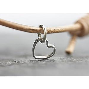 Armband Herz silber Freundschaftsarmband Liebe Lederarmband verstellbar