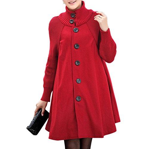 quality design b493c e8892 Donna Lunga Cappotto di Lana Blended Invernale Giacca Cappotti A Maniche  Lunghe