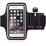 Running Mobile Armband Pouch With Key Earphone Holder For Sports Running, Jogging, Gym, Yoga, Aerobics (Fits Most Mobile Upto 6 Inches) (Black)