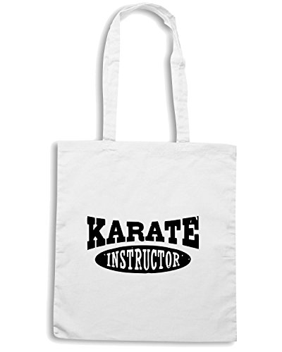 T-Shirtshock - Borsa Shopping TAM0071 karate instructor hooded sweatshirt Bianco