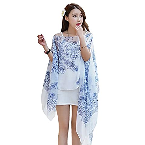 Years Calm Multi-function Chiffon Scarf Blue and White Porcelain Blouse