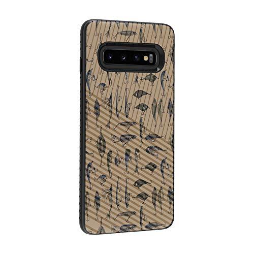 TurtleArmor Schutzhülle für Samsung Galaxy S10+ / S10 Plus Hülle - G975 - mit eingraviertem Rillen Slim Armor Dual Layer Hybrid Case Girl Designs -, Fishing Hooks