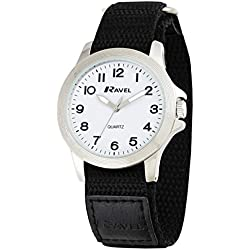 Ravel Easy Read Work Watch with Fast Fit Action Grip Velcro Strap Men's Quartz Watch with White Dial Analogue Display and Black Nylon Strap R1601.60.11