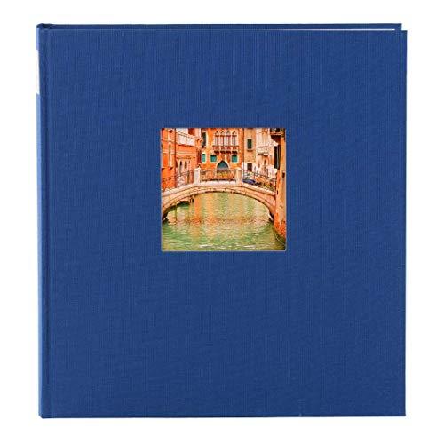Goldbuch Fotoalbum mit Fensterausschnitt, Bella Vista, 25 x 25 cm, 60 weiße Seiten mit Pergamin-Trennblättern, Leinen, Blau, 24895