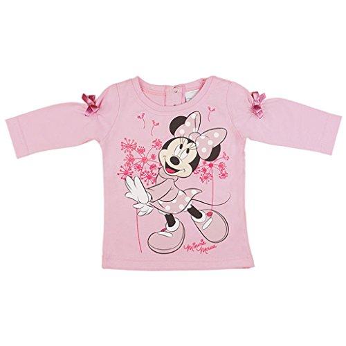 Mädchen LANGARM-SHIRT Minnie Mouse, Oberteil aus 100% BAUMWOLLE in GRÖSSE 74, 80, 86, 92, 98, 104, Longsleeve, Sweat-Shirt in rosa oder weiß mit süßem Motiv und Schleifchen Color Weiss, Size 86 (Jersey Sleeve Long Strumpfhosen)