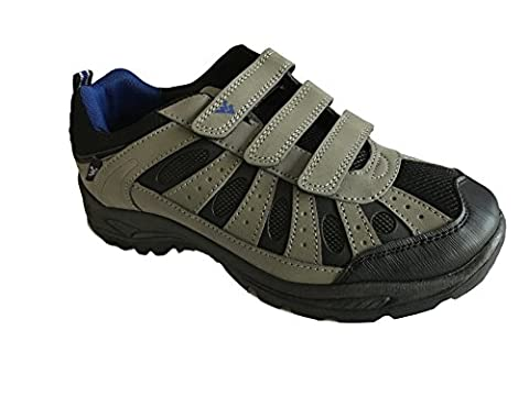 Mens Coniston Hiking Walking Shoes Trainers Velcro Fastening Size 7-12 (9 UK, Grey)