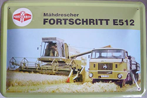 vielesguenstig-2013 Blechschild Schild 20x30cm - Mähdrescher Fortschritt E512 W50 LKW DDR