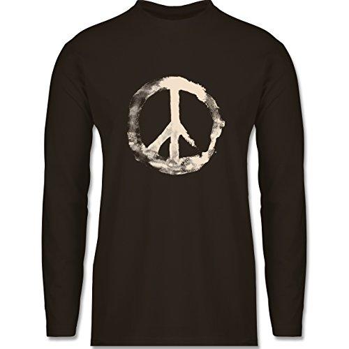 Shirtracer Statement Shirts - Frieden - Peacesymbol Weiss - Herren Langarmshirt Braun