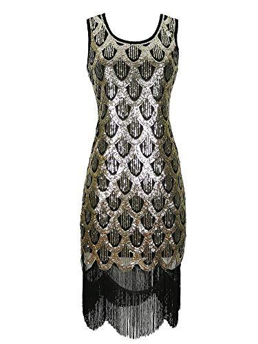 Champagner Kostüm Flapper - Grouptap 1920er Jahre goldene Gatsby Flapper Art-Deco-Pailletten glitzernden Kostüm für 1920 Frauen Paisley Vintage Cocktailparty (Gold, EU 40)