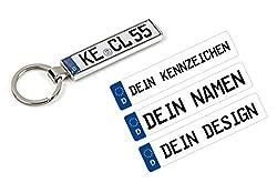 Schlüsselanhänger mit Ihrem KFZ-Kennzeichen und TÜV Plakette Aufkleber personalisiert Geschenk Mann Frau Freund Freundin Mama Papa
