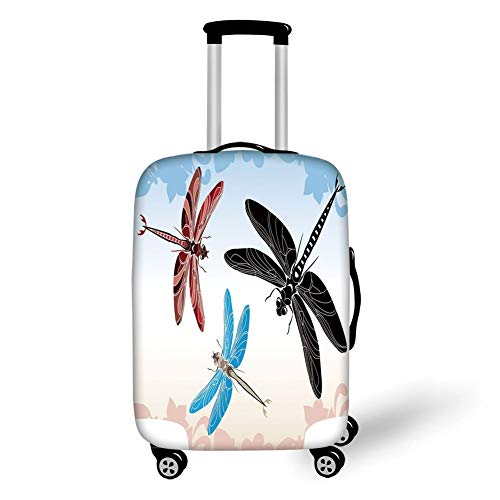 Travel Luggage Cover Suitcase Protector,Dragonfly,Exotic Dragonflies Flying in Cloud Sky Animal Wing Nature Illustration Decorative,Black Blue Light Pink,for Travel L