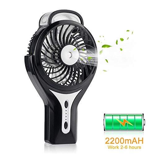 VUVN Mini Handventilator Mit Zerstäuber Tragbarer Lüfter Elektrischer Ventilator mit 2200 mAh Aufladbarem Batterie, 3 Geschwindigkeiten+2 Modi des Sprühen für Haus, Büro, Reise und im Freien