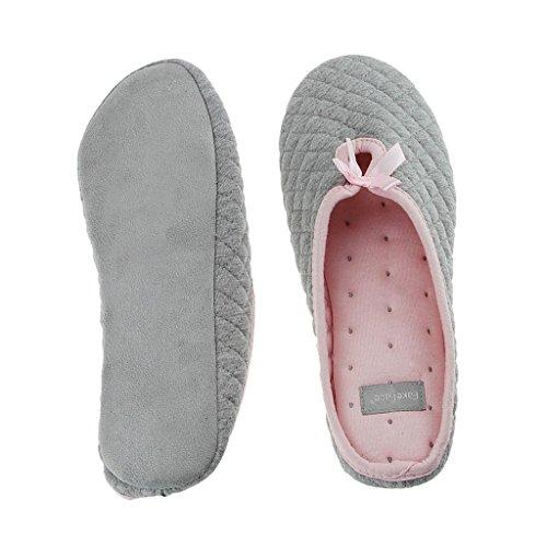 Fortuning's JDS Signore delle donne trapuntato cotone pantofola casa coperta con Carino Fiocco Scivolare su Mules caldi Grigio