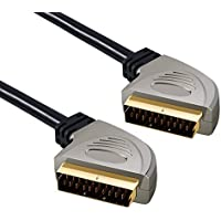 SCART Cable Neoteck 1.5m 24K Gold Plated SCART to SCART Cable Fully Wired Shielded 21 Pin Lead Wire with Aluminum Metal Casing Male to Male for HDTV STB PS3 Sky DVD VCR TV Blu-ray Set-top Box HD