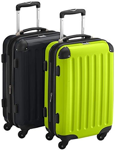 HAUPTSTADTKOFFER - Alex - 2 x Handgepäck Hartschale glänzend, TSA, 55 cm, 42 Liter, Graphit-Apfelgrün Apfelgrün-Schwarz