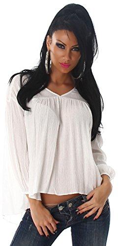 Voyelles Damen Bluse 3/4-lang Weiß
