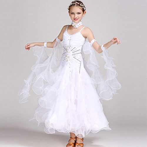 Ballroom Dance Kleider für Kinder Performance Kostüm Ärmellos Kinder Walzer Tanz Outfit Große Schaukel Standard Tanz Rock (Shorts Dance Outfit)