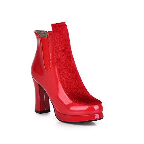 VogueZone009 Damen Rein Hoher Absatz Rund Zehe Blend-Materialien Elastic Band Stiefel, Blau, 33