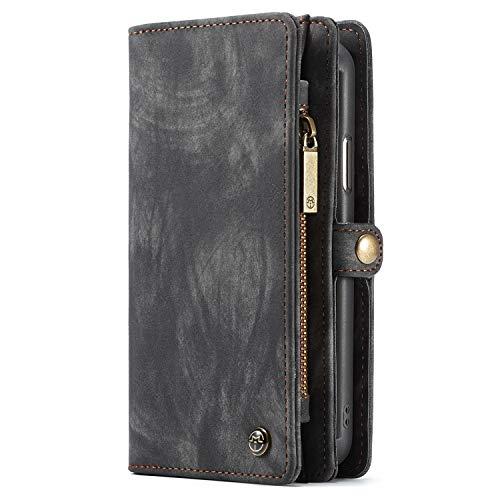 """Apple iPhone XS Max (6,5"""") Case Hülle Geldbörse mit Kredit Kartenfächer [Geldscheinfach mit Reißverschluss] Premium mit abnehmbaren Magnet Handy Schutzhülle,"""
