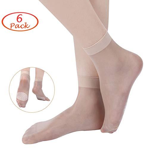 Stretch-söckchen (ECOMBOS Damen Nylon Socken - 6/12 Paar Seidenstrümpfe Ultra Transparente Socken Feinstrumpfsöckchen Elastische Nylon Söckchen Anti-Rutsch mit Komfort Bündchen (Stil-C))