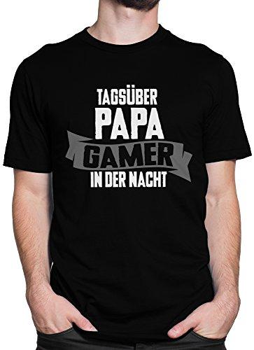 vanVerden Unisex T-Shirt XS-5XL Tagsüber Papa, Gamer in der Nacht Grau