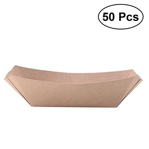 YeahiBaby 50 Pcs Forme de Bateau À Emporter Conteneurs Boîte de Pliage Facile Boîte de Papier Kraft Déjeuner Carton de Salade pour Fête (Papier Kraft)