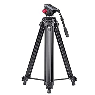 Andoer 67 Inches Professional Aluminum Alloy 1.7 m Video Camera Tripod with Fluid Head and a Carry Bag (10kg)