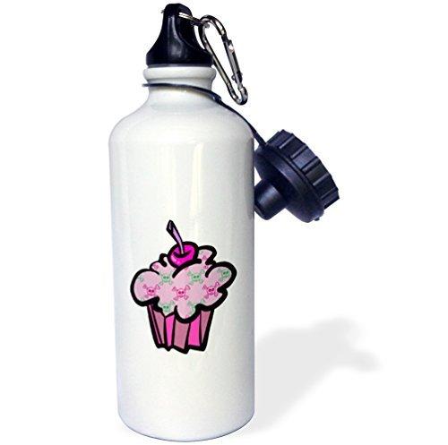 Punk School Girl (Sports Water Bottle Gift for Kids Girl Boy, Pink Punk Skull Crossbones Cupcake Stainless Steel Water Bottle for School Office Travel 21oz)
